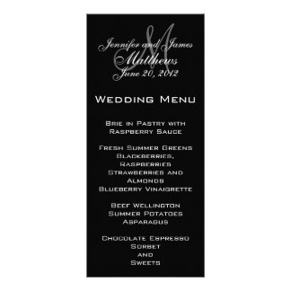 エレガントなモノグラムの結婚式メニューカード 10.2CM X 22.9CM ラックカード