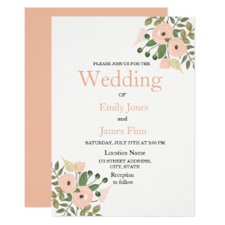 エレガントなモモの花の結婚式招待状セット カード