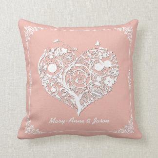 エレガントなモモ及び白いハートの装飾者の枕 クッション