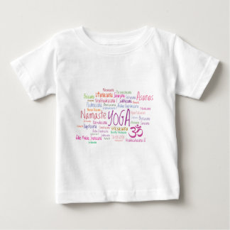 エレガントなヨガはピンクおよび紫色パターンAsanasを提起します ベビーTシャツ
