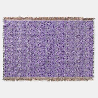 エレガントなラベンダーの紫色のダマスク織のブランケット スローブランケット
