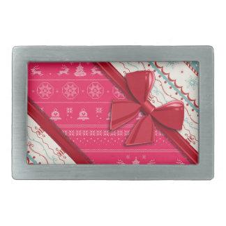エレガントなリボンおよびクリスマスの醜いセーター 長方形ベルトバックル