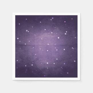 エレガントなレトロの暗い紫色および白人の星のパーティー スタンダードカクテルナプキン