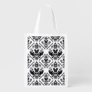 エレガントなレトロの白黒のダマスク織パターン エコバッグ