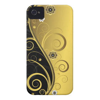 エレガントなレトロの黒および金ゴールドの花の渦巻 Case-Mate iPhone 4 ケース
