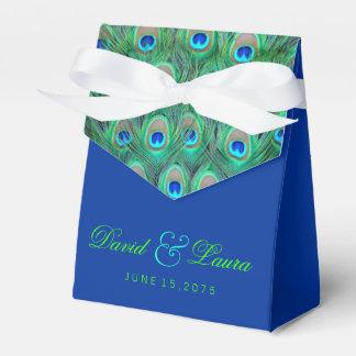 エレガントなロイヤルブルーおよび緑の孔雀の結婚式 フェイバーボックス