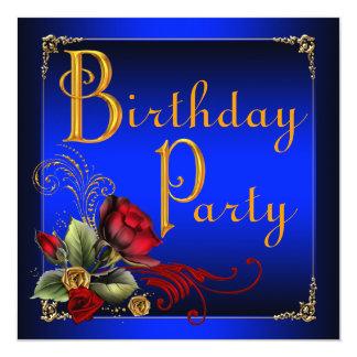 エレガントなロイヤルブルーおよび赤いバラの誕生会 カード