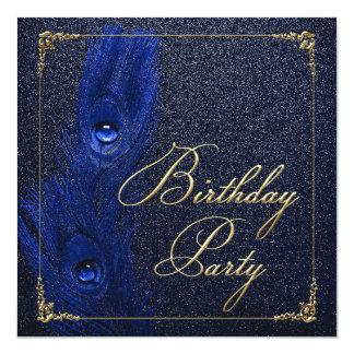 エレガントなロイヤルブルーおよび金ゴールドの孔雀の誕生会 カード