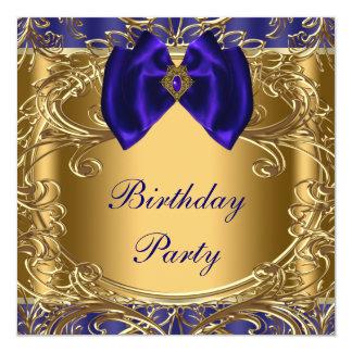 エレガントなロイヤルブルーおよび金ゴールドの誕生会 カード