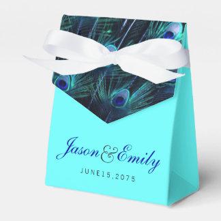 エレガントなロイヤルブルーの孔雀の結婚式 フェイバーボックス