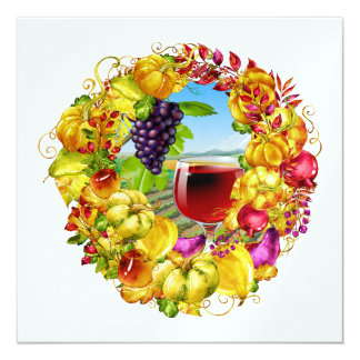 エレガントなワインの秋季の収穫の招待状 カード