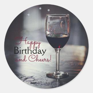 エレガントなワインテーマの誕生日のステッカー ラウンドシール