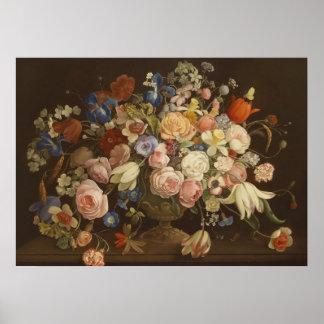 エレガントなヴィンテージのばら色の花の絵画、アントンの紛砕機 ポスター