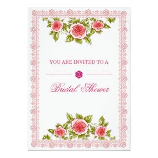 エレガントなヴィンテージのばら色の花フレーム-ブライダルシャワー カード