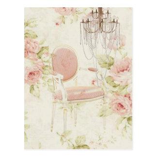 エレガントなヴィンテージのガーリーな花のパリのファッション ポストカード