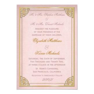 エレガントなヴィンテージのコーニスのピンクのゴールド・トーンの結婚式 12.7 X 17.8 インビテーションカード