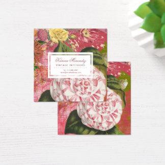 エレガントなヴィンテージのツバキの花のシックな正方形 スクエア名刺