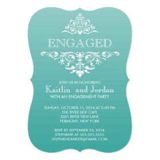 エレガントなヴィンテージのティール(緑がかった色)の華麗さの婚約パーティ 12.7 X 17.8 インビテーションカード