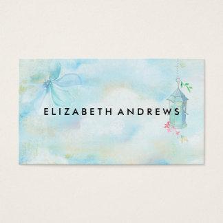 エレガントなヴィンテージのパステル調の青いピンクの水彩画 名刺