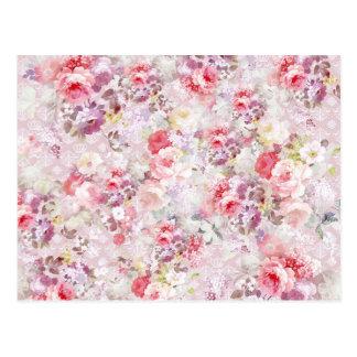 エレガントなヴィンテージのピンクによっては王室のなダマスク織パターンが開花します ポストカード