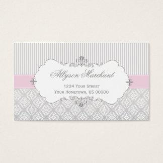 エレガントなヴィンテージのピンクの灰色白のダマスク織は縞で飾り、 名刺