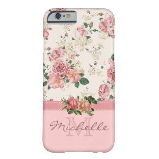 エレガントなヴィンテージのピンクの花柄のばら色のモノグラムの名前 BARELY THERE iPhone 6 ケース