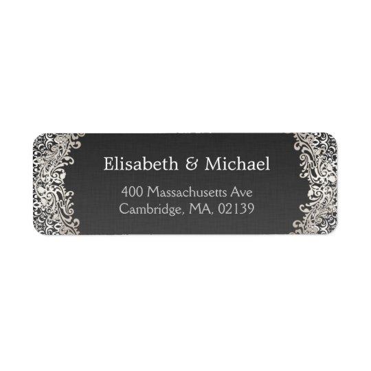 エレガントなヴィンテージのフォーマルな暗い銀製のダマスク織のクラシック 返信用宛名ラベル