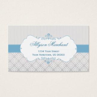 エレガントなヴィンテージのブルーグレーの白いダマスク織は縞で飾り、 名刺