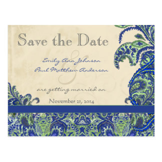 エレガントなヴィンテージのペイズリーの結婚式の保存日付 ポストカード