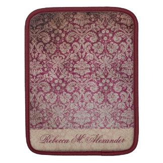 エレガントなヴィンテージのワインのダマスク織パターンカスタムの袖 iPadスリーブ