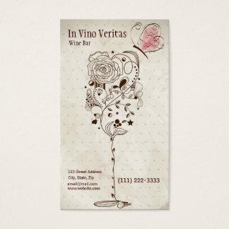 エレガントなヴィンテージのワインバーの名刺 名刺