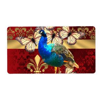 エレガントなヴィンテージの孔雀および赤いダマスク織 ラベル