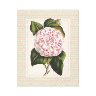 エレガントなヴィンテージの植物のピンクのツバキの花 キャンバスプリント