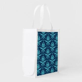エレガントなヴィンテージの濃紺のターコイズのダマスク織パターン エコバッグ