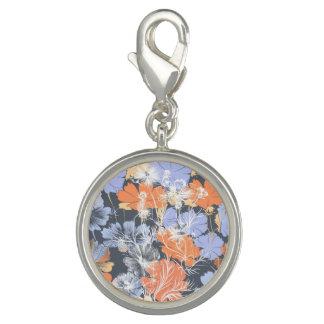 エレガントなヴィンテージの灰色のすみれ色のオレンジ花パターン チャーム