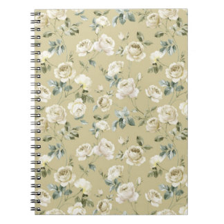 エレガントなヴィンテージの白いバラ ノートブック