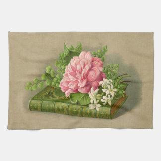 エレガントなヴィンテージの花のシャクヤクの上品な本 キッチンタオル