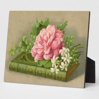 エレガントなヴィンテージの花のシャクヤクの上品な本 フォトプラーク