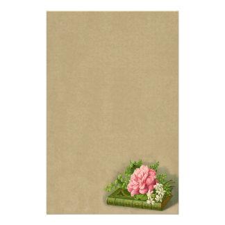 エレガントなヴィンテージの花のシャクヤクの上品な本 便箋