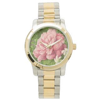 エレガントなヴィンテージの花のシャクヤクの上品な本 腕時計