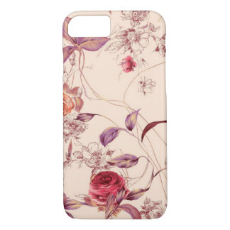 エレガントなヴィンテージの花柄のばら色のiPhone 7の箱 iPhone 7ケース