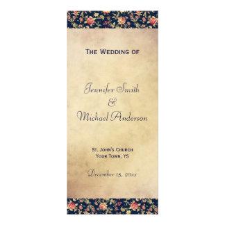 エレガントなヴィンテージの青のバラのための結婚式プログラム カスタマイズラックカード