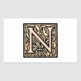 エレガントな中世イニシャルNのアンティークのモノグラム 長方形シール