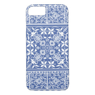 エレガントな中世フランスのなレースの青および白 iPhone 8/7ケース