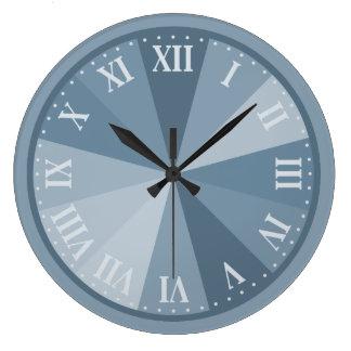 エレガントな企業のな灰色の青いローマ数字 ラージ壁時計