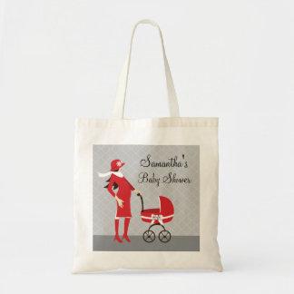 エレガントな冬の灰色および赤いベビーシャワー トートバッグ
