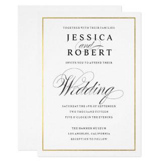 エレガントな原稿の模造のな金ゴールドのボーダー結婚式招待状 カード