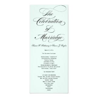 エレガントな原稿の結婚式プログラム-青 カード