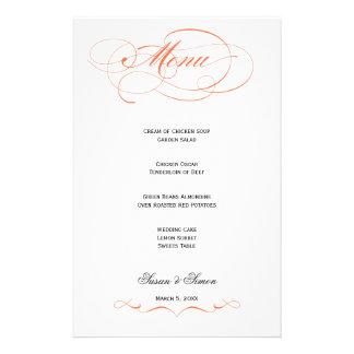 エレガントな原稿の結婚式メニュー-オレンジ 便箋