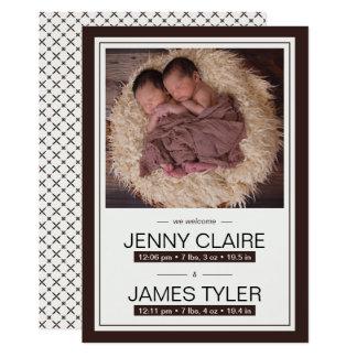 エレガントな双生児のベビーの誕生の発表 12.7 X 17.8 インビテーションカード